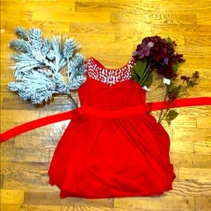 Bejewelled Red party dress